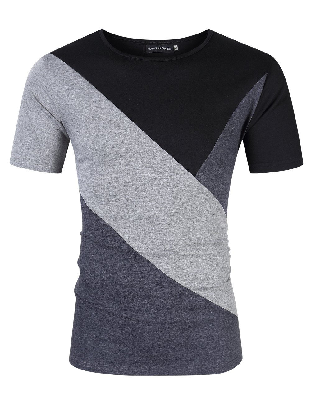 Yong Horse Mens Summer Active Wear Tops Contrast Color Stitch Crew Neck Elastic Slim Fit Short Sleeve T Shirt (M Grey)