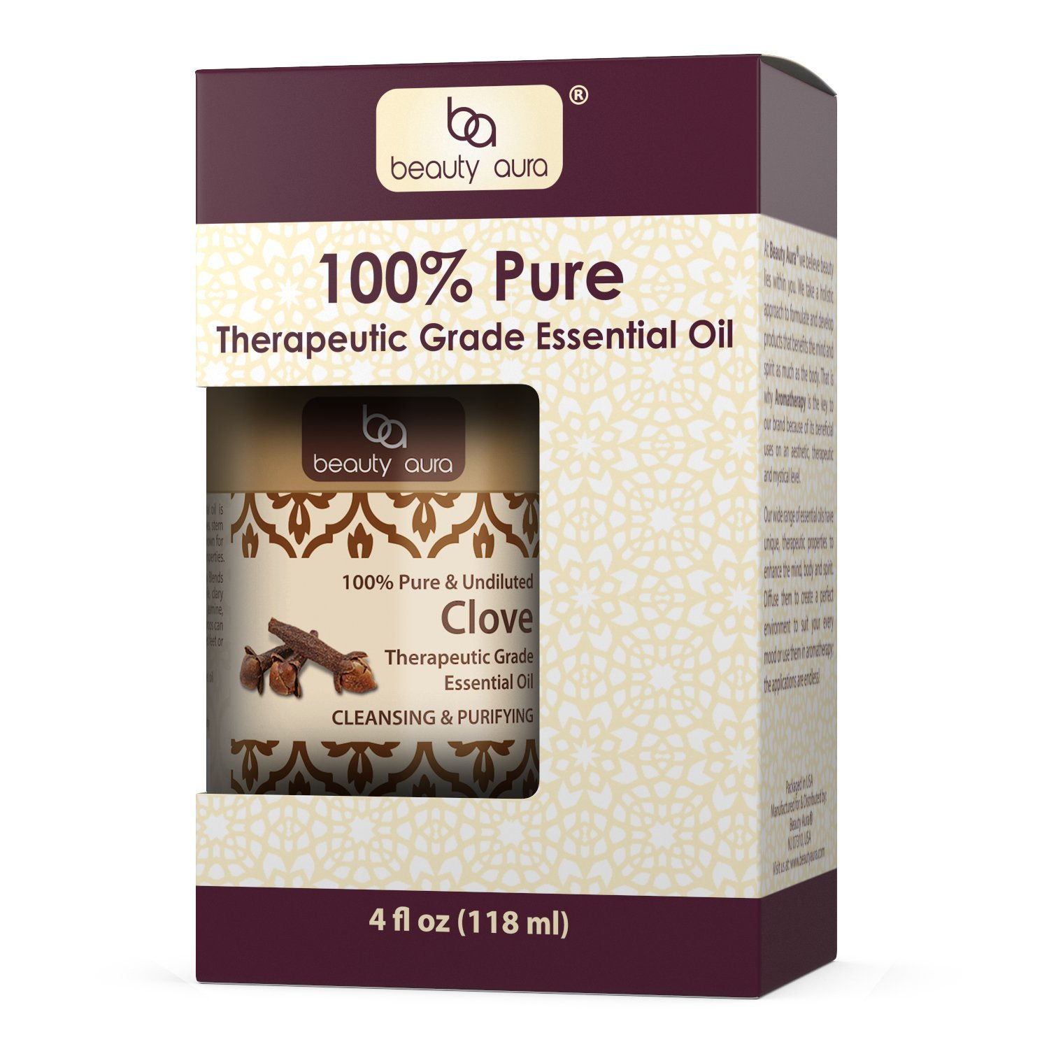 Beauty Aura Clove Essential Oil * 4 Oz * Pure Therapeutic Grade Cloves oil Aromatherapy, Hair Care, Skin Care & Natural Remedies by Beauty Aura (Image #4)