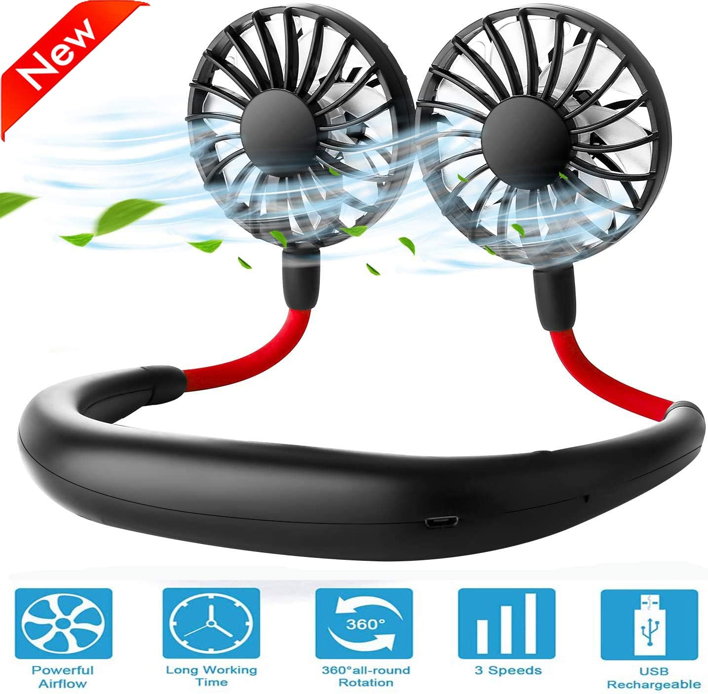 Hand Free Neck Fan Wearable Personal Fan Portable Fan Mini USB Fan 2000mAh Rechargeable Sports Wearable Neckband Fan 3 Speed Adjustable Suitable for Outdoor Indoor Office
