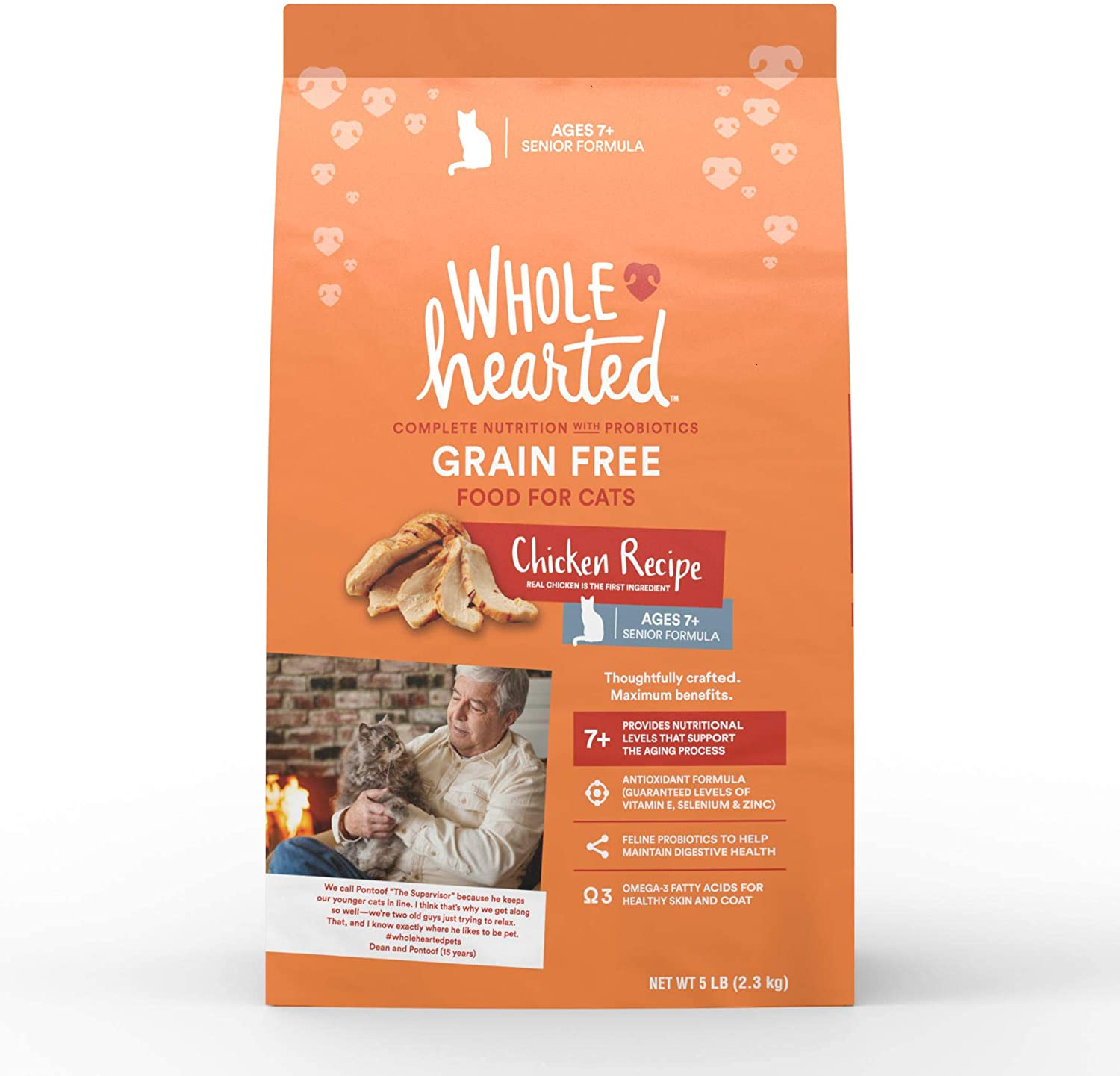 WholeHearted Grain Free Senior Chicken Recipe Dry Cat Food, 5 lbs.