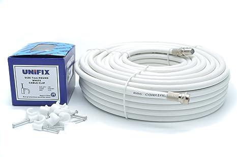 Bajera Ajustable para RG6 Kit de extensión de cable coaxial de TV vía satélite con conectores F de Sky Satélites 10 metros para Sky HD, Freesat & Virgen ...