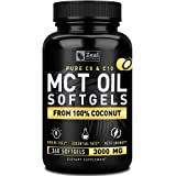 Pure MCT Oil Capsules (360 Softgels | 3000mg) 4 Month Supply MCT Oil Keto Pills w Unrefined Coconut Oil - C10 & C8 MCT Oil Co