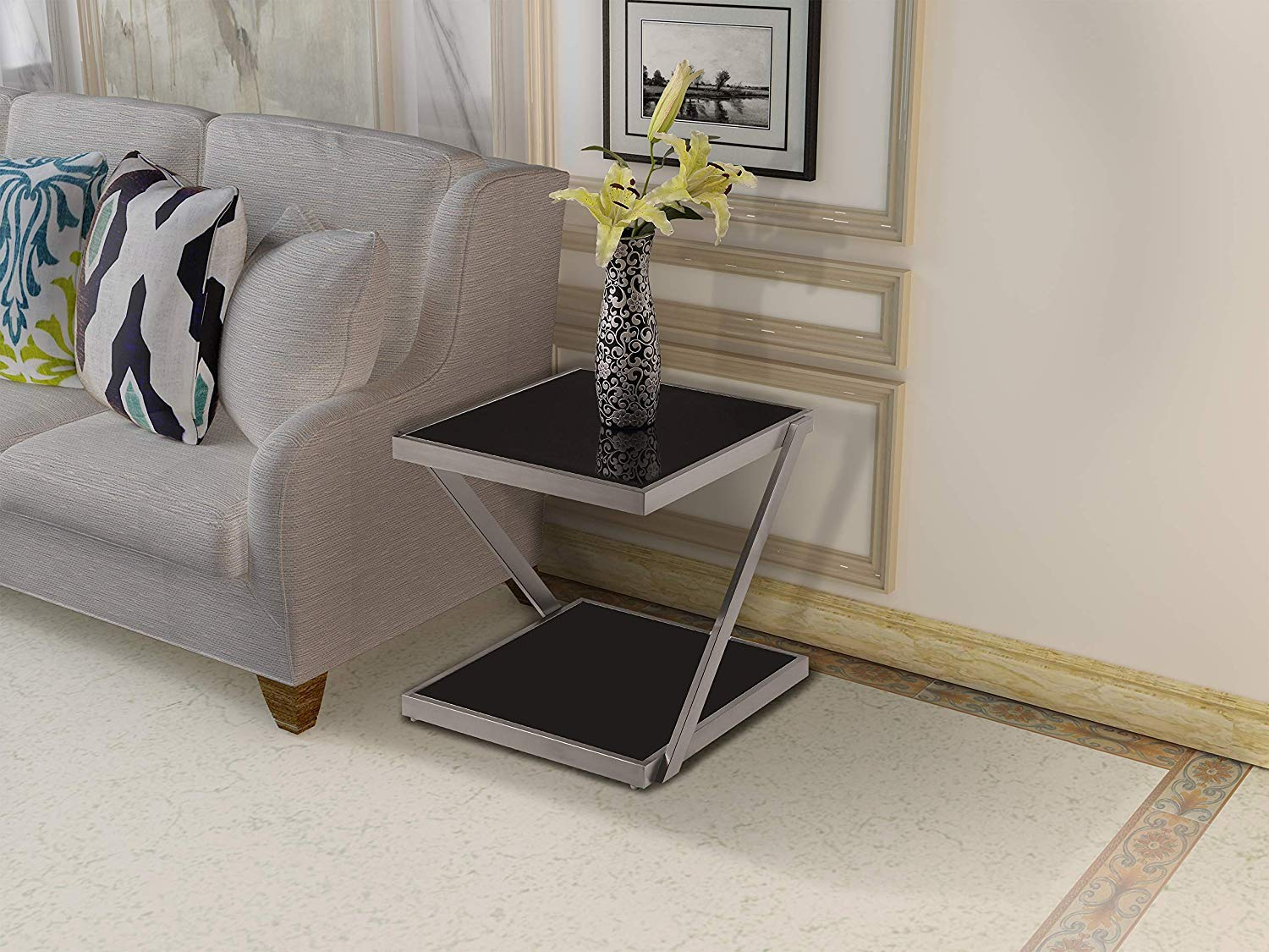 Pasargad Home Forest Collection Silver Cowhide Side Table