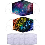 2Pcs Unisex Fashion Washable and Reusable Cotton Facial Covering Colorful Starry Sky Design with 8Pcs Filters for…