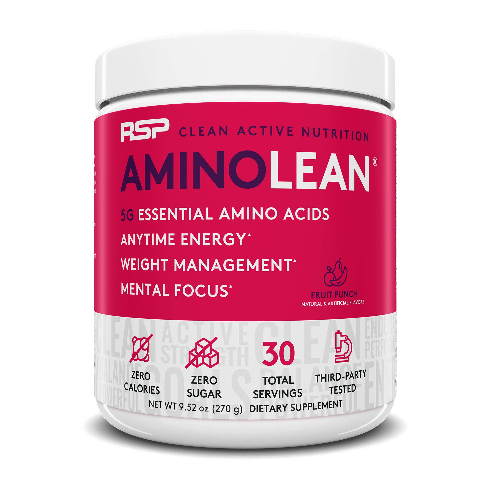 RSP AminoLean - All-in-One Pre Workout, Amino Energy, Weight Management Supplement with Amino Acids, Complete Preworkout Energy for Men & Women, Fruit Punch, 30 (Packaging May Vary) by RSP Nutrition