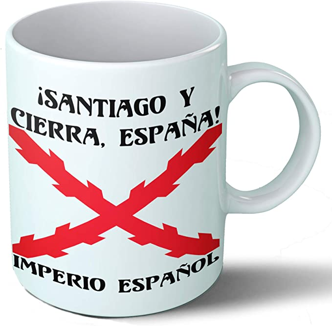 Planetacase Taza Desayuno Imperio español Cruz de Borgoña tercios de España Santiago Ceramica 330 ML: Amazon.es: Hogar