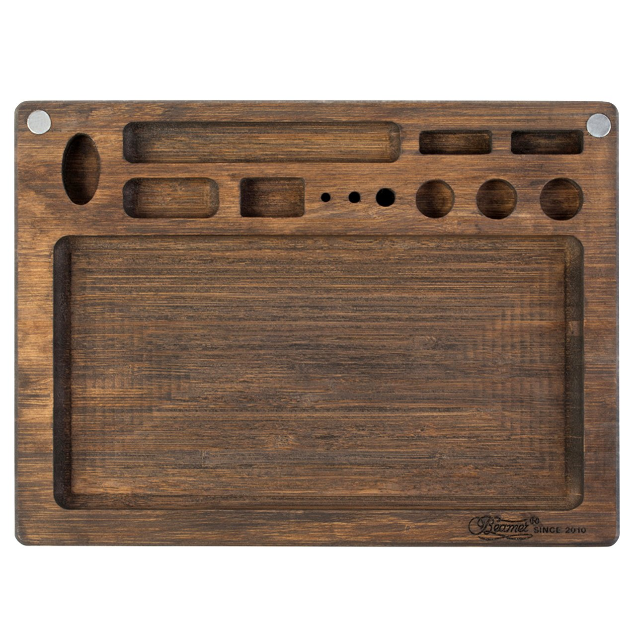 Beamer Val All-Natural Bamboo Rolling Tray - Dark Finish - 10 X 7 inch