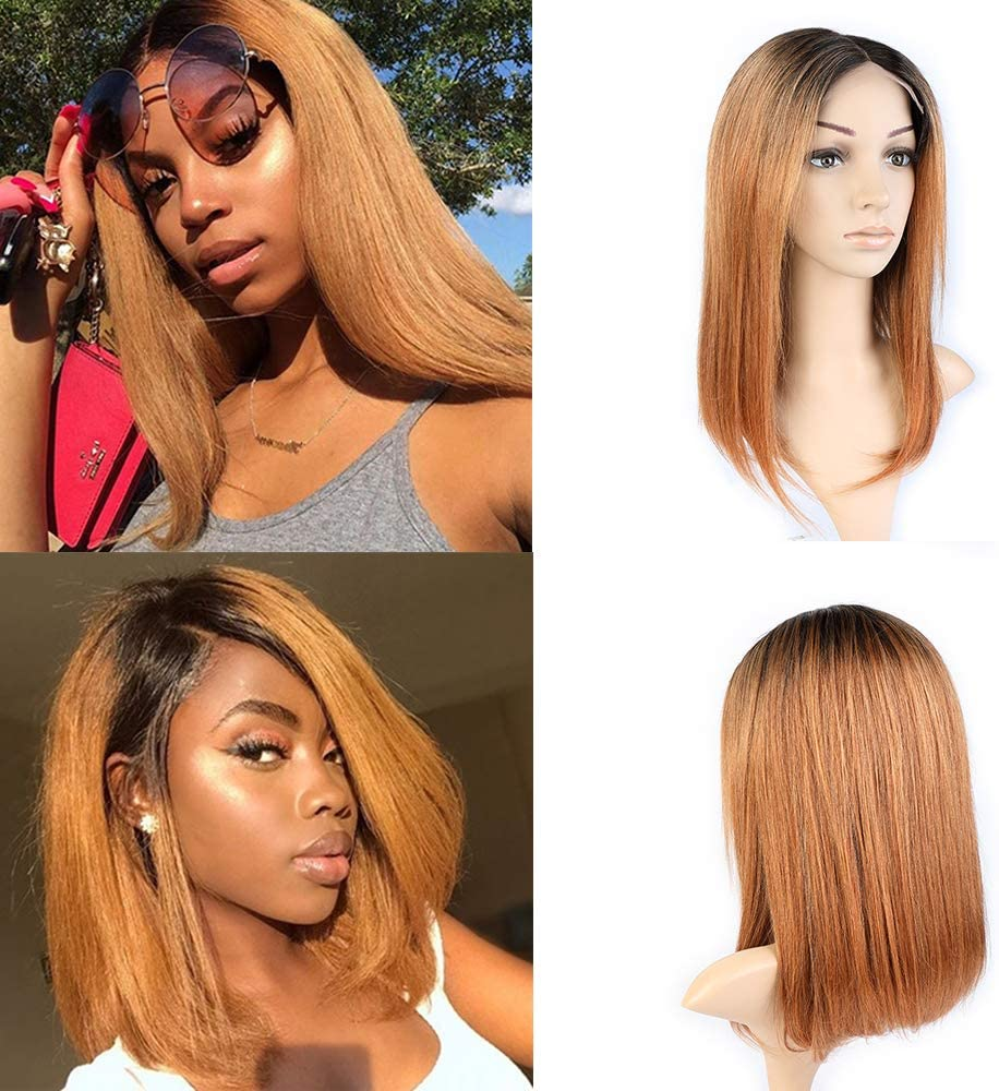 Blisshair Human Hair Wig Ombre Straight 16 Short Bob 100 Brazilian Virgin Remy Hair Glueless Lace Front Wigs With Natural Hairline Ombre Color Ot1b 30 Amazon Co Uk Beauty