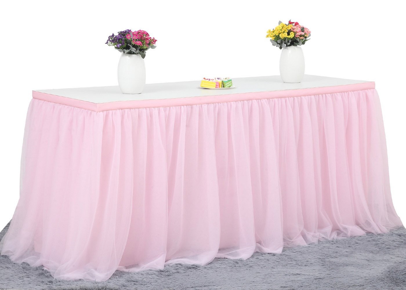 9FT Pink Tulle Table Skirt High-end Gold Brim 3 Layer Round or Rectangle Tables Mesh Tutu Table Skirting Fluffy and Elegant for Baby Show,Birthday Party,Wedding Decoration.(L108in, H30in) by CO-AVE