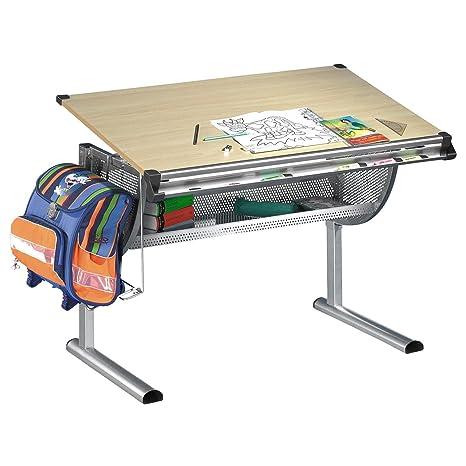 Kinderschreibtisch  IDIMEX Kinderschreibtisch Schreibtisch für Kinder MARIO, Buche Dekor,  höhenverstellbarer und neigungsverstellbar