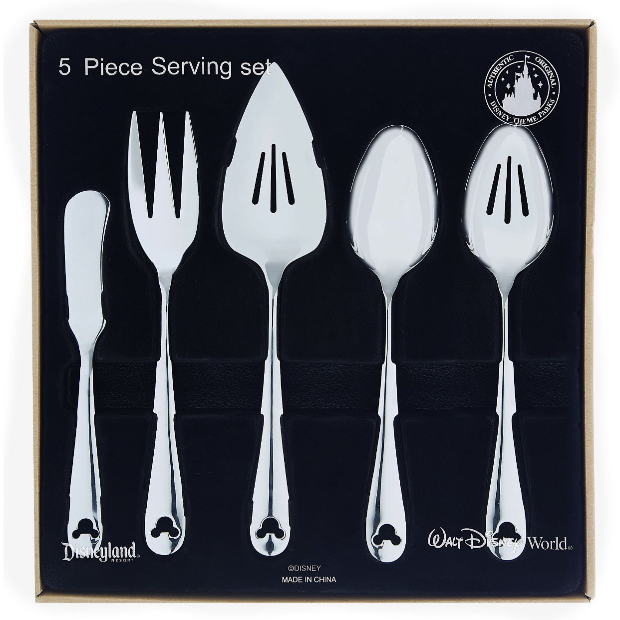 Disney Parks Exclusive Mickey Mouse Icon Flatware 5 Pc. Serving Set 18/8 by Disney