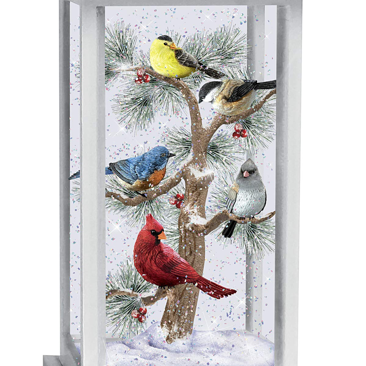 The Bradford Exchange Songs of The Season Illuminated Snowglobe Songbird Lantern