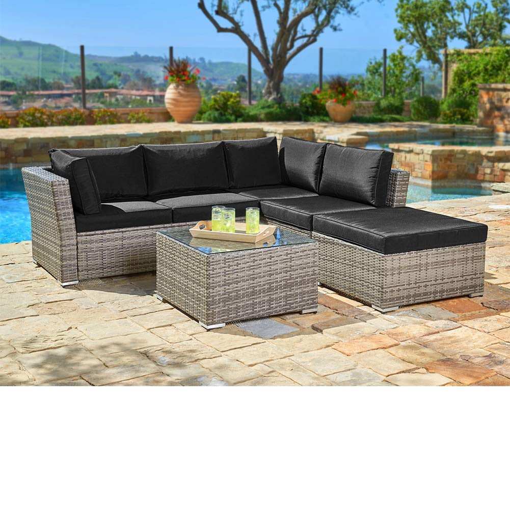 SUNCROWN Outdoor Sectional 4-Piece Patio Sofa Set Grey Checkered Wicker Furniture with Black Washable Seat Cushions and Glass Coffee Table, Waterproof Cover and Clips