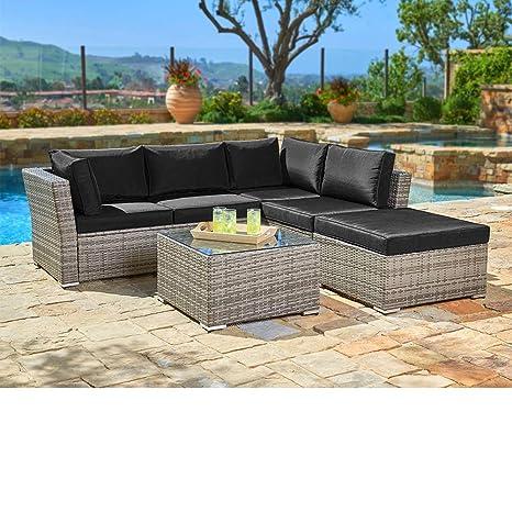 suncrown al aire libre muebles sofá seccional (4-Piece Set ...