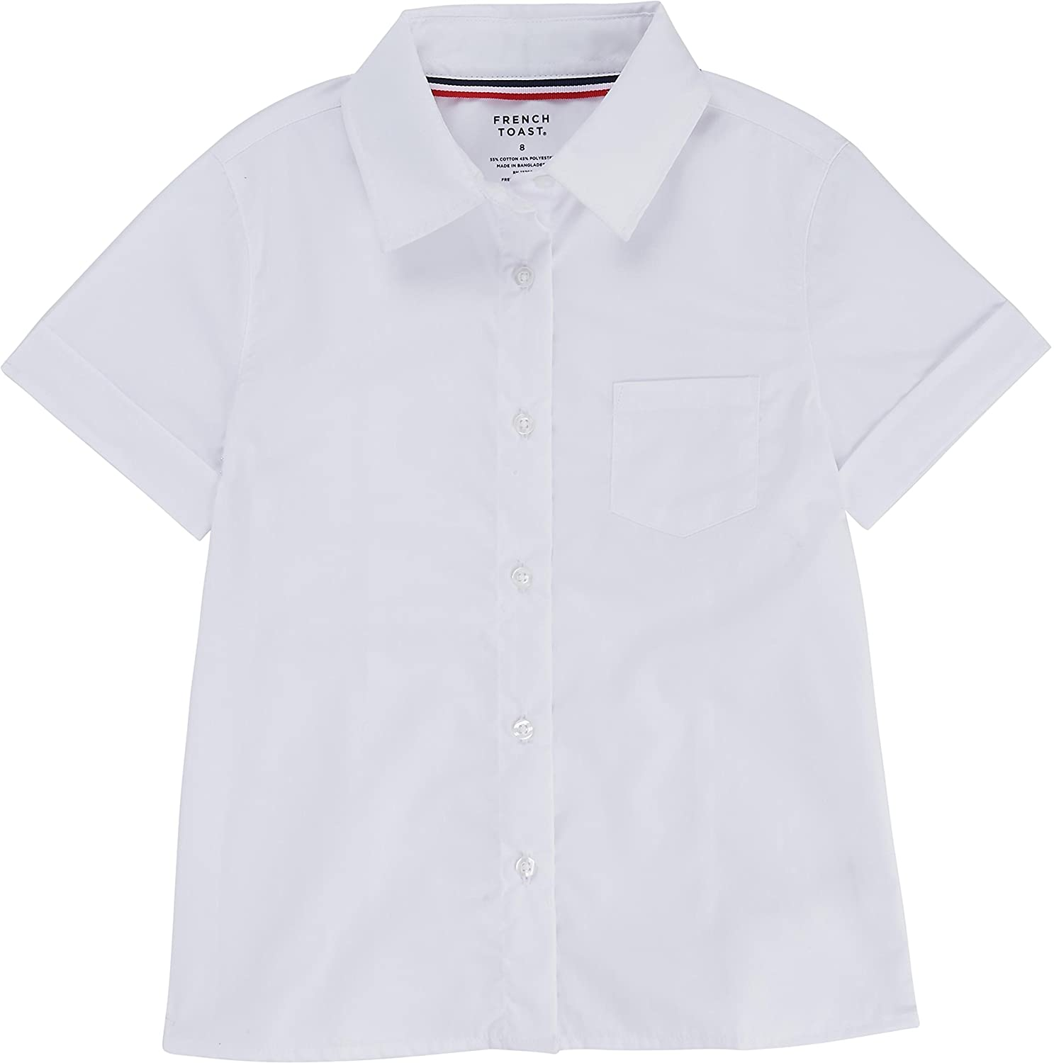 French Toast School Uniform Girls Short Sleeve Pointed Collar Blouse With Pocket