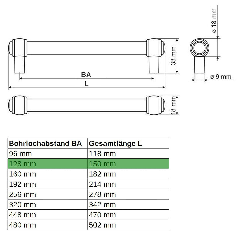 SO-TECH/® M/öbelgriff Stilgriff Althea Altsilberoptik BA 192 mm