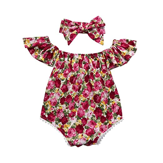 g-real bebé recién nacido Niñas Verano Manga Corta Volantes Off hombro Flores Pelele Mono