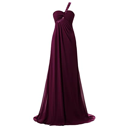 3ee822422a0 Sarahbridal Juniors One Shoulder Prom Party Dresses Beaded Sequin Chiffon  Long Bridesamiad Ball Gowns Grape US2