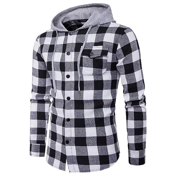 JiaMeng Hoodie Sudaderas de Manga Larga Camisas de Cuadros Casuales otoñales Camisa de Jersey de Manga