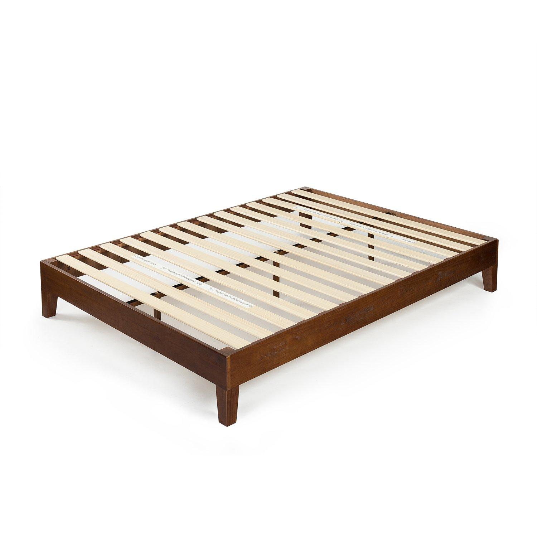 Wood Slat Support Antique Espresso Finish No Box Spring Needed Twin Zinus Marissa 12 Inch Deluxe Wood Platform Bed