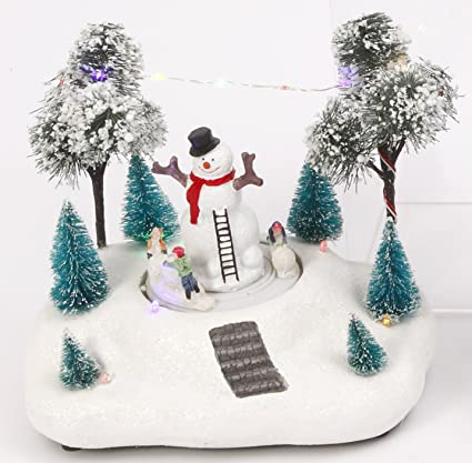 lighted winter holiday scene with animated skating children christmas village decoration snowman - Animated Christmas Scene Decorations
