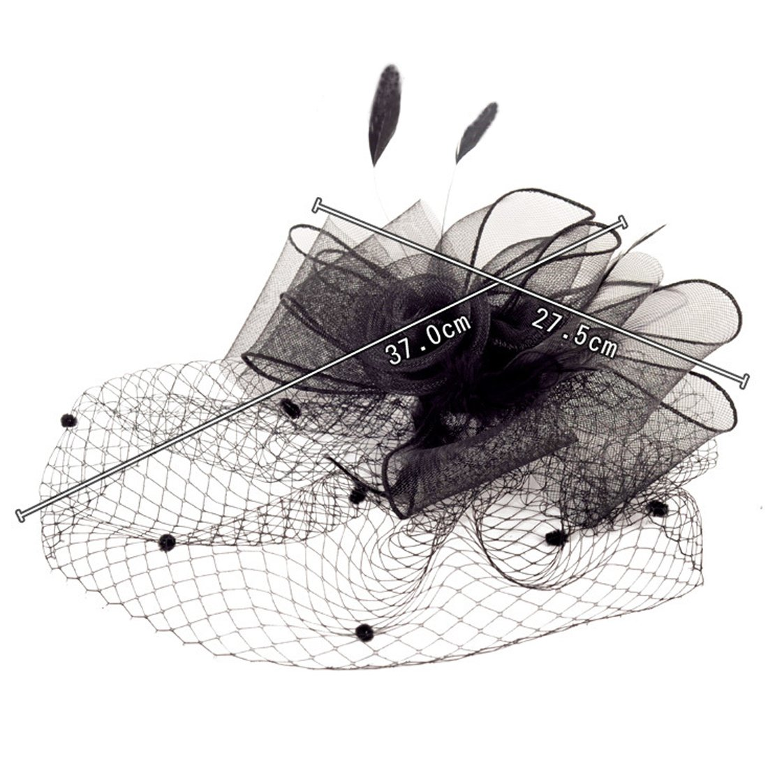 Black Feather Fascinator Clips Kentucky Derby Hats Hair Fascinators for Womens Wedding and Tea Party