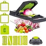 Vegetable Chopper Cutter Slicer Onion Chopper Pro Manual Grater Food Slicer Container 12-in-1 Vegetable Spiralizer Fruit…