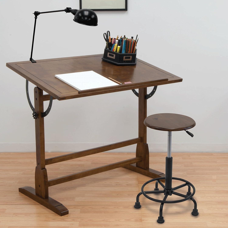 2 Pack Studio Design Vintage Drawing Drafting Wooden Craft Desk Rustic Oak