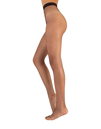 9dcfc0c99c95a5 SEAMLESS FISHNET PANTYHOSE | NET TIGHTS WITH PATTERNED WAIST TOP | NO SEAM NET  PANTYHOSE | BLACK | S/M L/XL | MADE IN ITALY