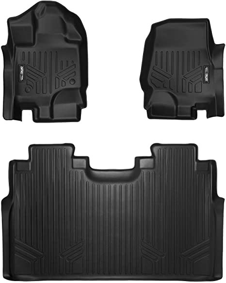 Maxliner Floor Mats 2 Row Liner Set Black For 2015 2018 Ford F 150 Supercrew Cab With 1st Row Bucket Seats