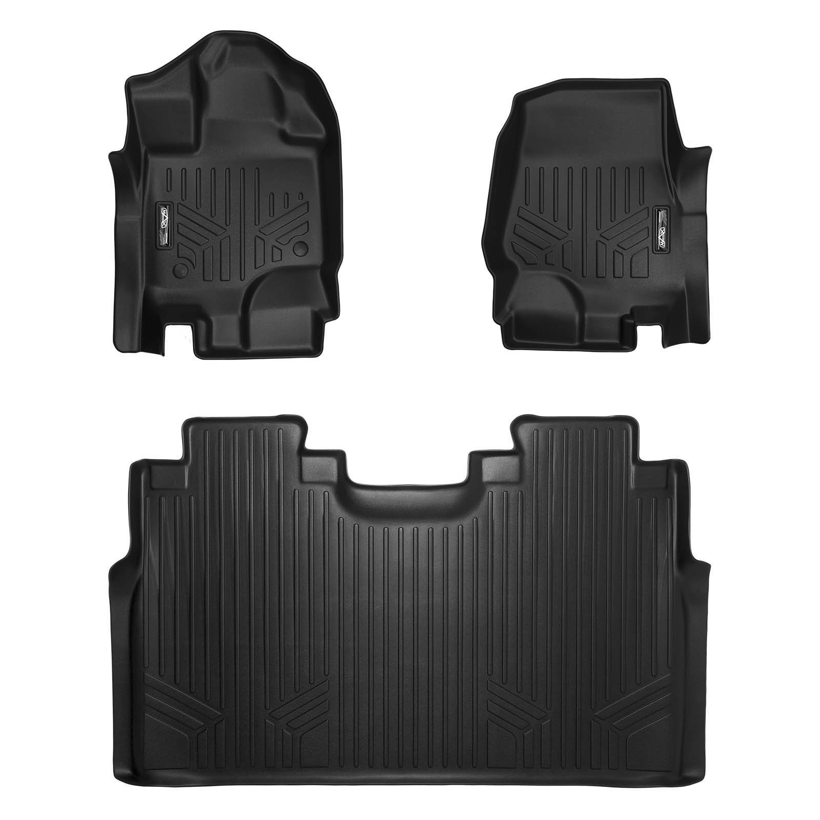 MAXLINER Floor Mats 2 Row Liner Set Black for 2015-2019 Ford F-150 SuperCrew Cab With 1st Row Bucket Seats by MAX LINER