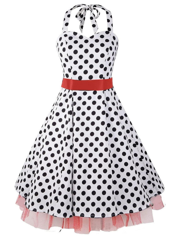 Eyekepper Women's 1950s Halter Polka Dot Vintage Rockabilly Dress