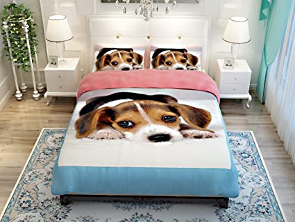 Awesome (3pcs ) High Grade Textile Cute Dog Print Duvet Cover Set Dogs Bedding Set