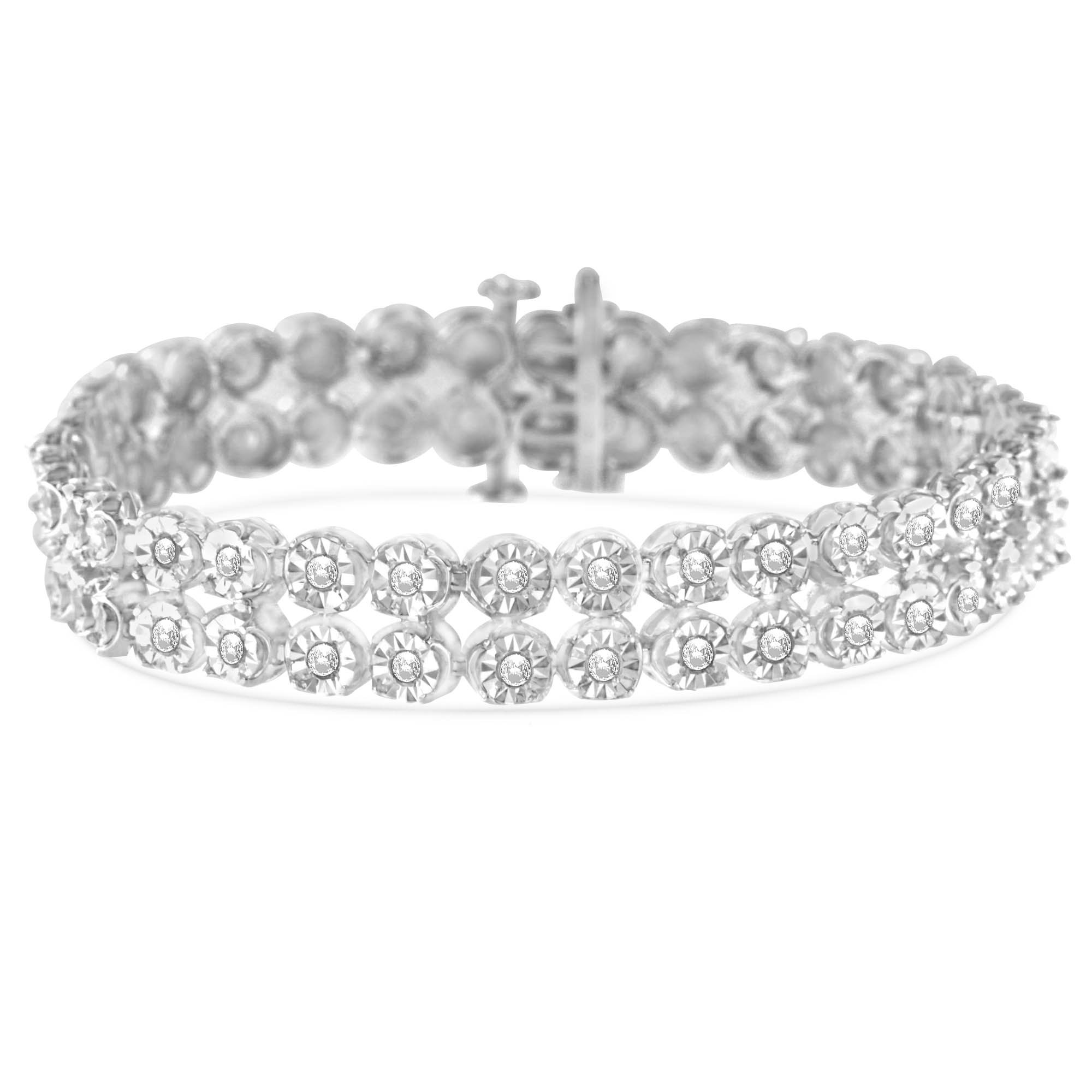 Original Classics Sterling Silver 2ct TDW Rose-Cut Diamond 2-Row Link Bracelet (I-J,I3 PROMO)