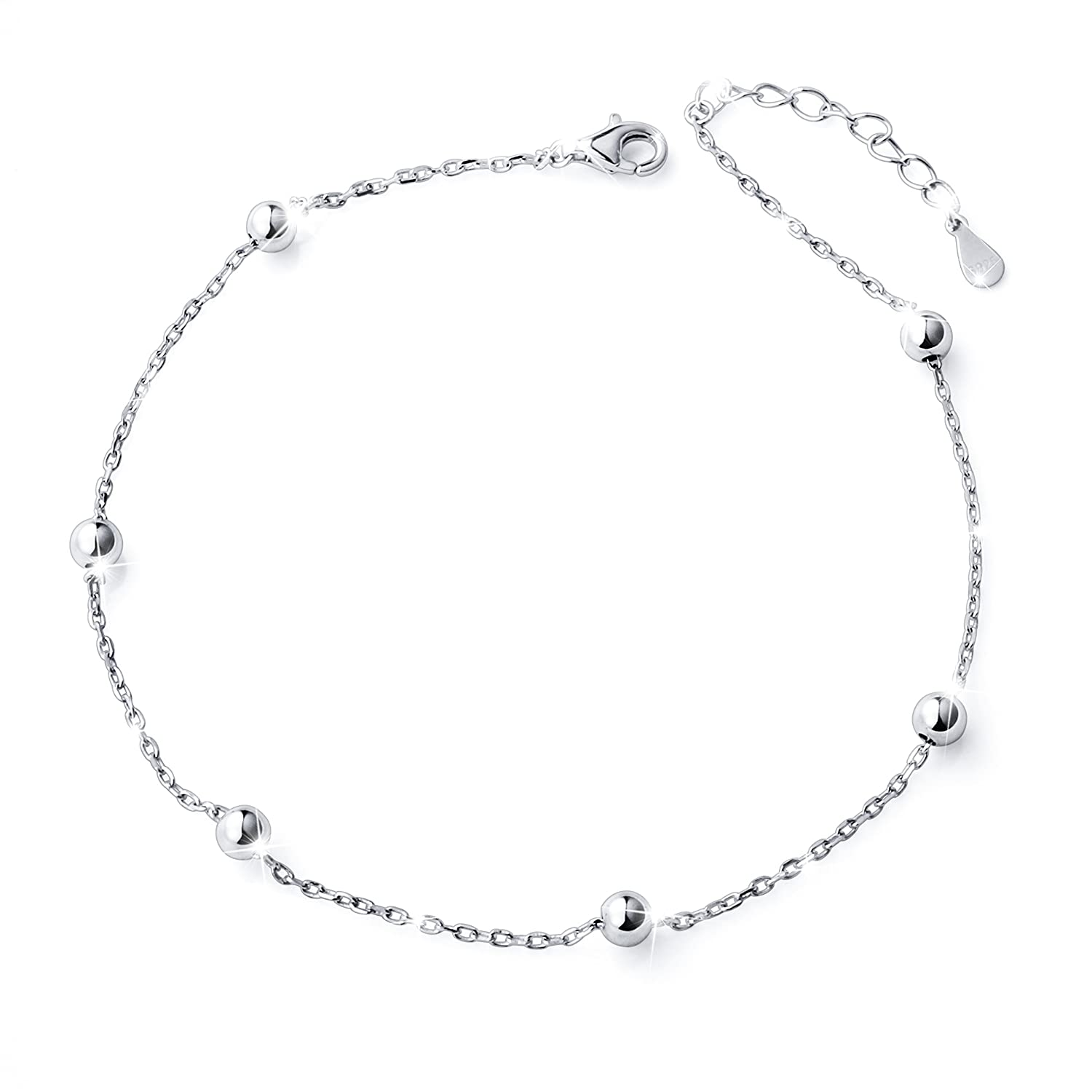 Jewelry & Watches Learned 925 Sterling Silver Double Chain 2 Stars Polished Beads Anklet Foot Jewellery