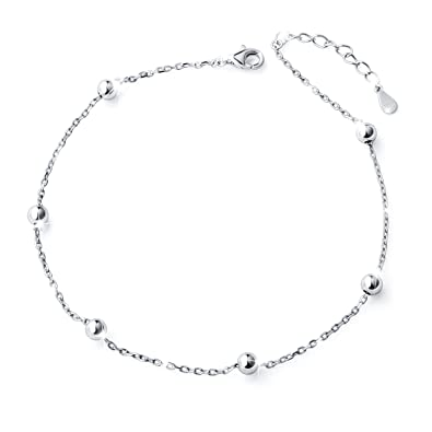 Anklets 92.5% Sterling Silver Anklet Ankle Bracelet Jewelry Bangle Various Styles