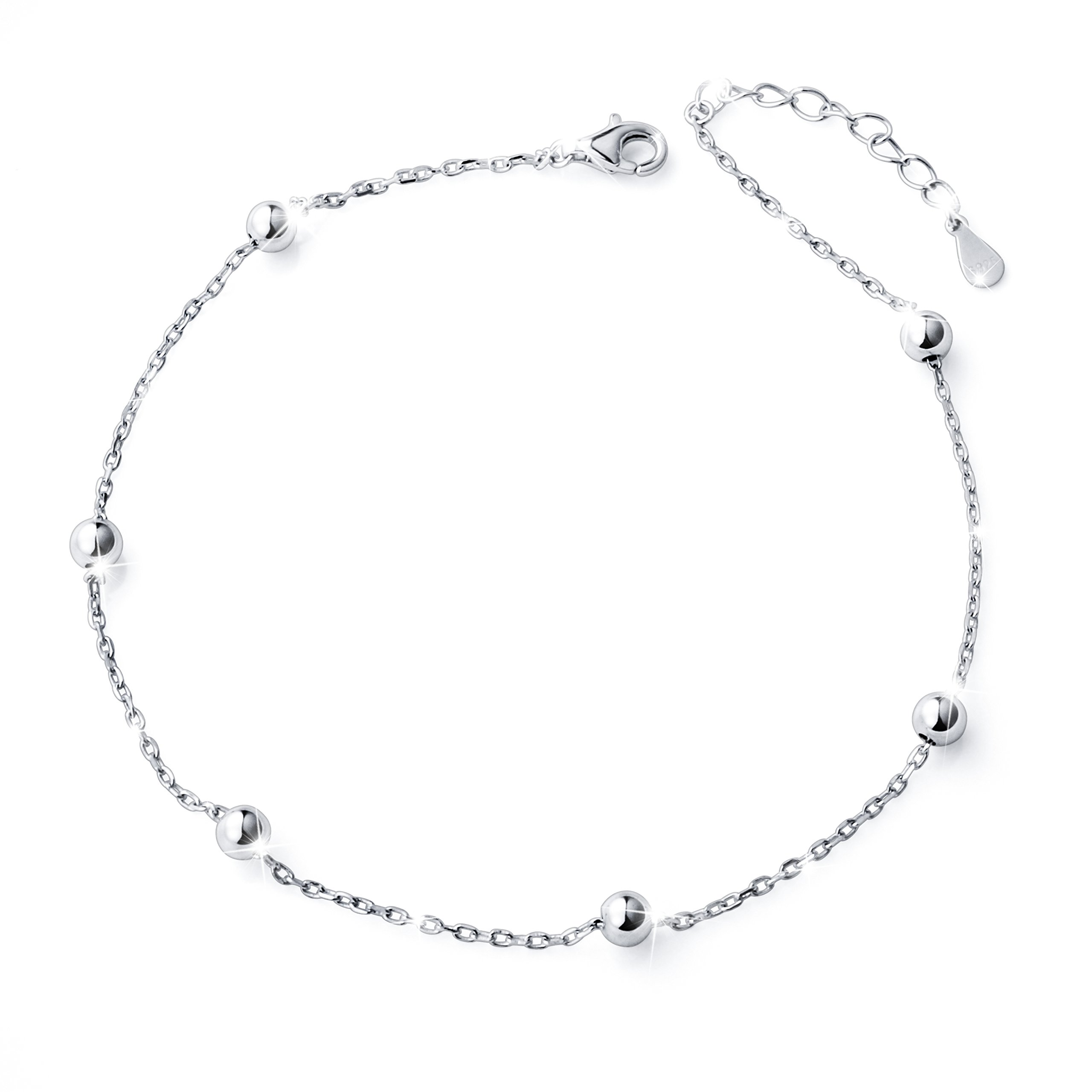 S925 Sterling Silver Bead Plus Anklet for Women Girl Adjustable Beach Style Foot Ankle Bracelet Jewelry