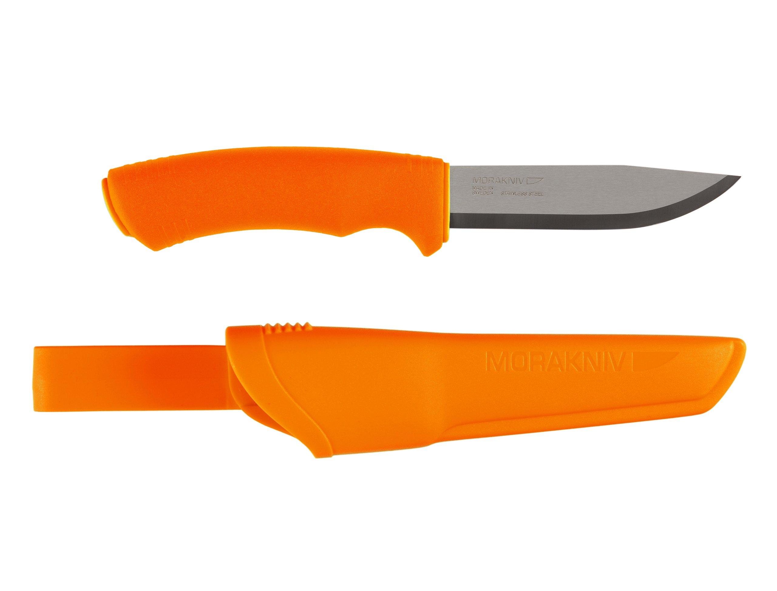 Morakniv Bushcraft Fixed Blade Knife with Sandvik Stainless Steel Blade, Orange, 0.125/4.3-Inch