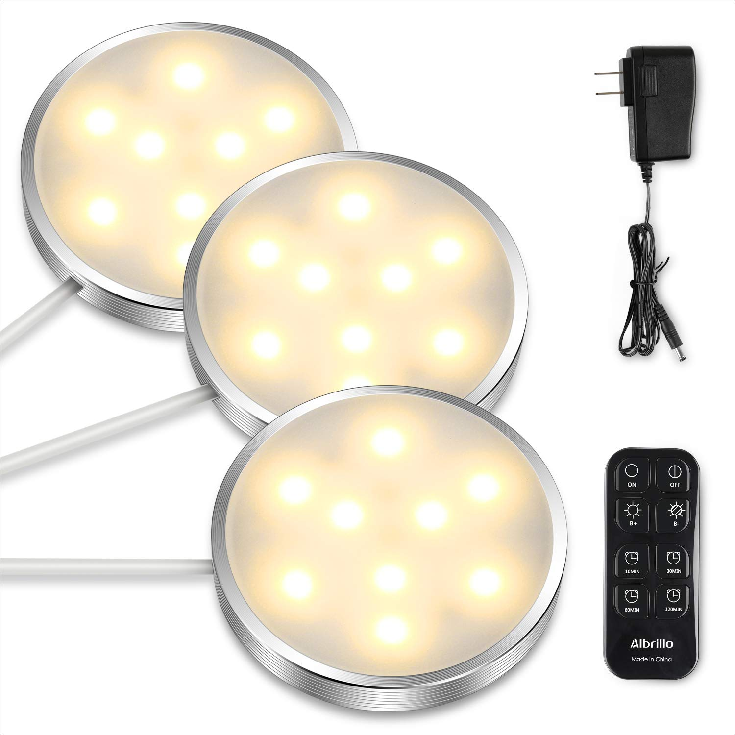 Albrillo LED Puck Lighting Remote Control, Dimmable Under Cabinet Lights, Warm White 3000K Kitchen Under Counter Lights, 3 Pack