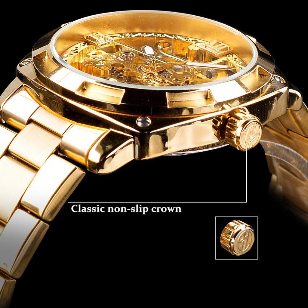 Amazon.com: Minipoco Automatic Mechanical Watch Mens Hollow Waterproof Steel Belt Mens Watch Automatic Mechanical Mens Watch Luxury Stainless Steel ...