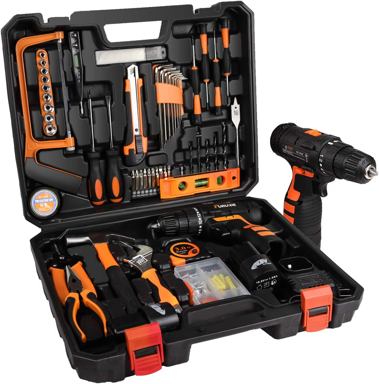 jar-owl Tool Kits 16.8V Cordless Drill Lithium Lon with 91 Piece Tool Set Combination Package and Plastic Toolbox Storage Case