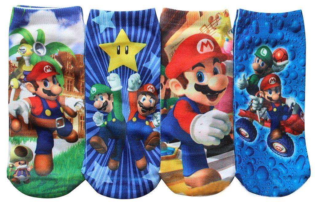 Gillbro Super Mario calcetines 4 Pack, 5-8 Años de Edad: Amazon.es: Ropa y accesorios