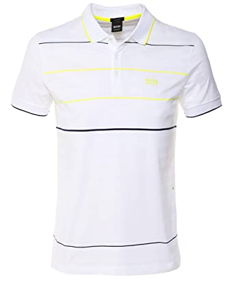 adfe2881 BOSS Athleisure Men's Regular Fit Paddy 5 Polo Shirt White at Amazon ...