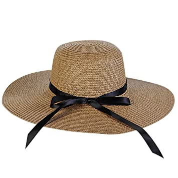 9a8bc7c59b6 Effulow Women Ladies Fashion Bow Shade Summer Big Wide Brim Straw Hat  Floppy Derby Beach Sun