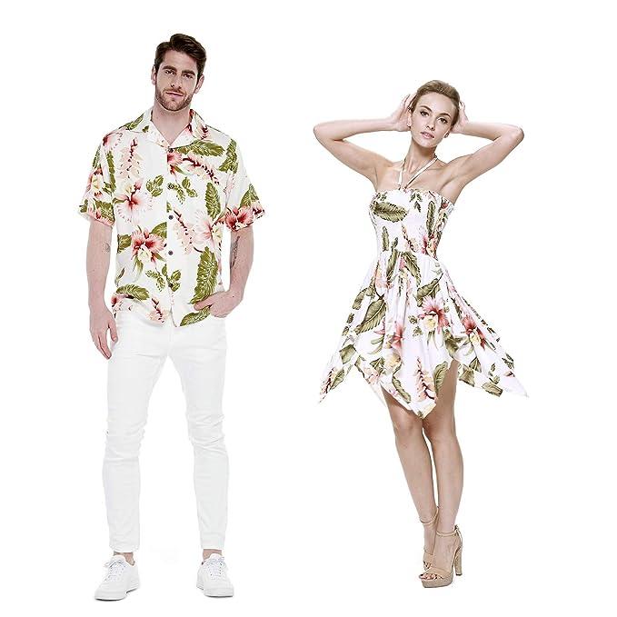 Couple Matching Shirt Dress Outfit Hawaiian Cruise Wedding Cream Rafelsia Gypsy
