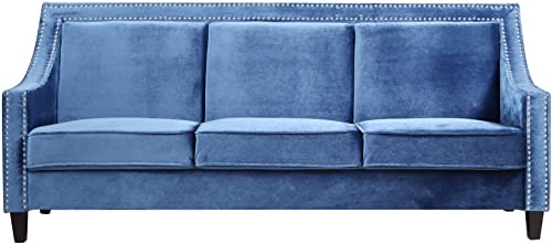 Iconic Home Camren Sofa Velvet Upholstered Swoop Arm Silver Nailhead Trim Espresso Finished Wood Legs Couch Modern Contemporary, Navy