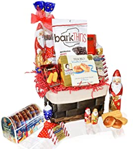Christmas Basket - Santa, Chocolate, Gourmet, Food, Holiday Gift Variety for Family, Friends, Colleagues, Office, Men, Women, Corporate Her, Mom Him