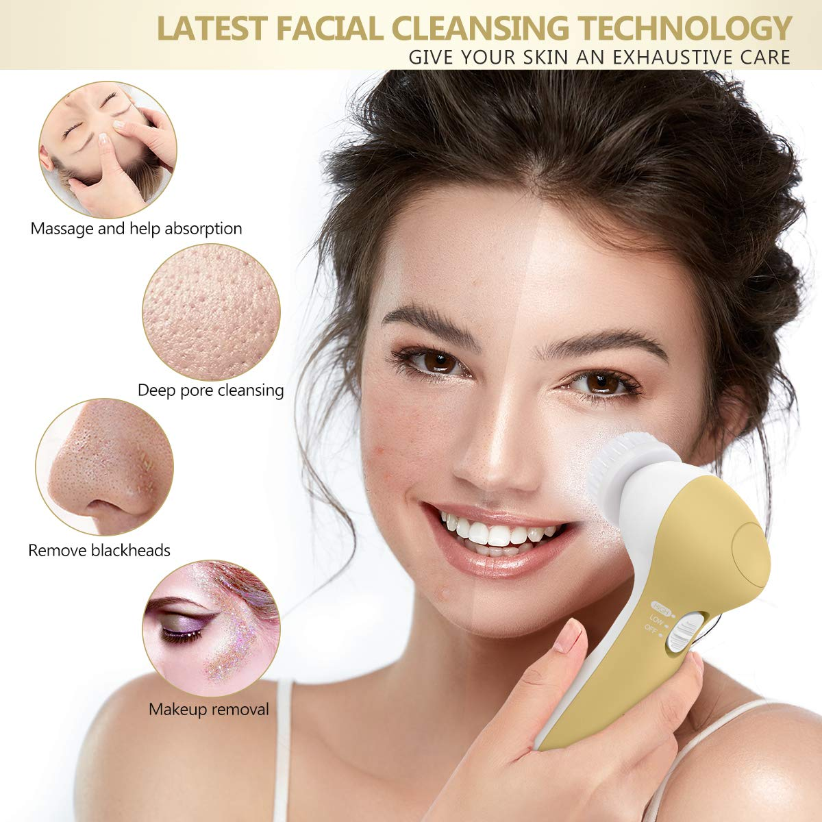 Face Brush Waterproof Face Spin Brush with 7 Brush Heads for Deep Cleansing (Rich Gold)