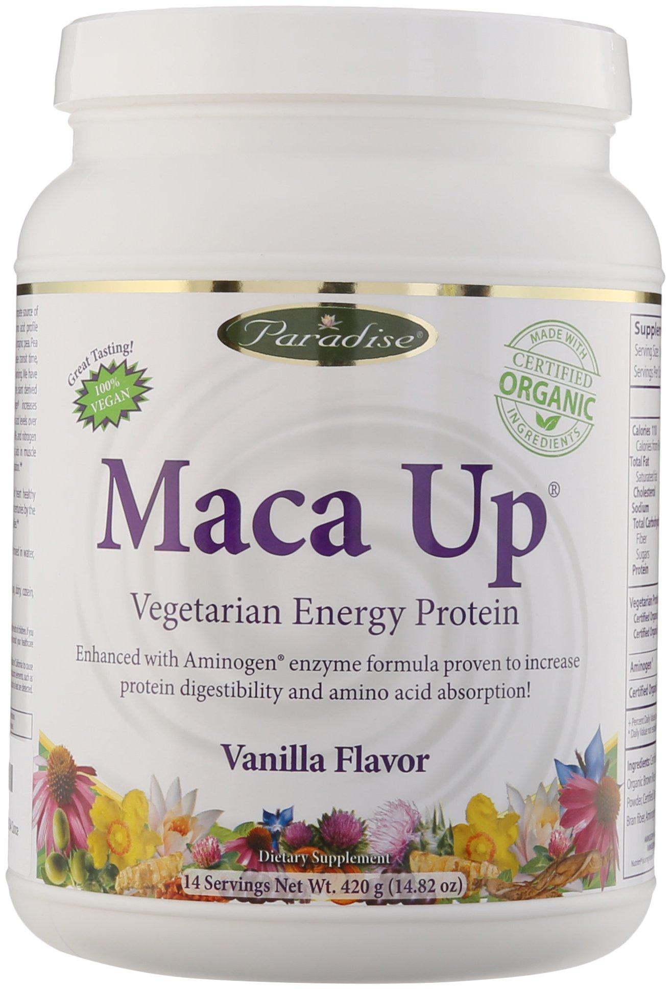 Paradise Herbs Maca Up Protein Powder, Vanilla, 14.82 Ounce