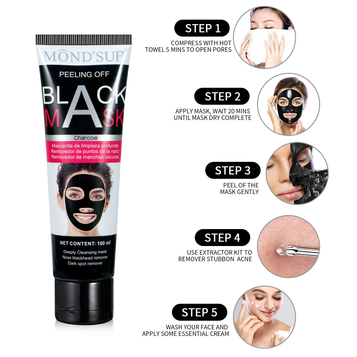 Nose Blackhead Remover Mask With Kit, Activated Charcoal Peel Off Mask- Deep Cleaning Face Pore Acne